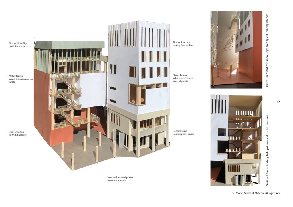 1:50 paper and card model showing focus into section of civic tower and back courtyard
