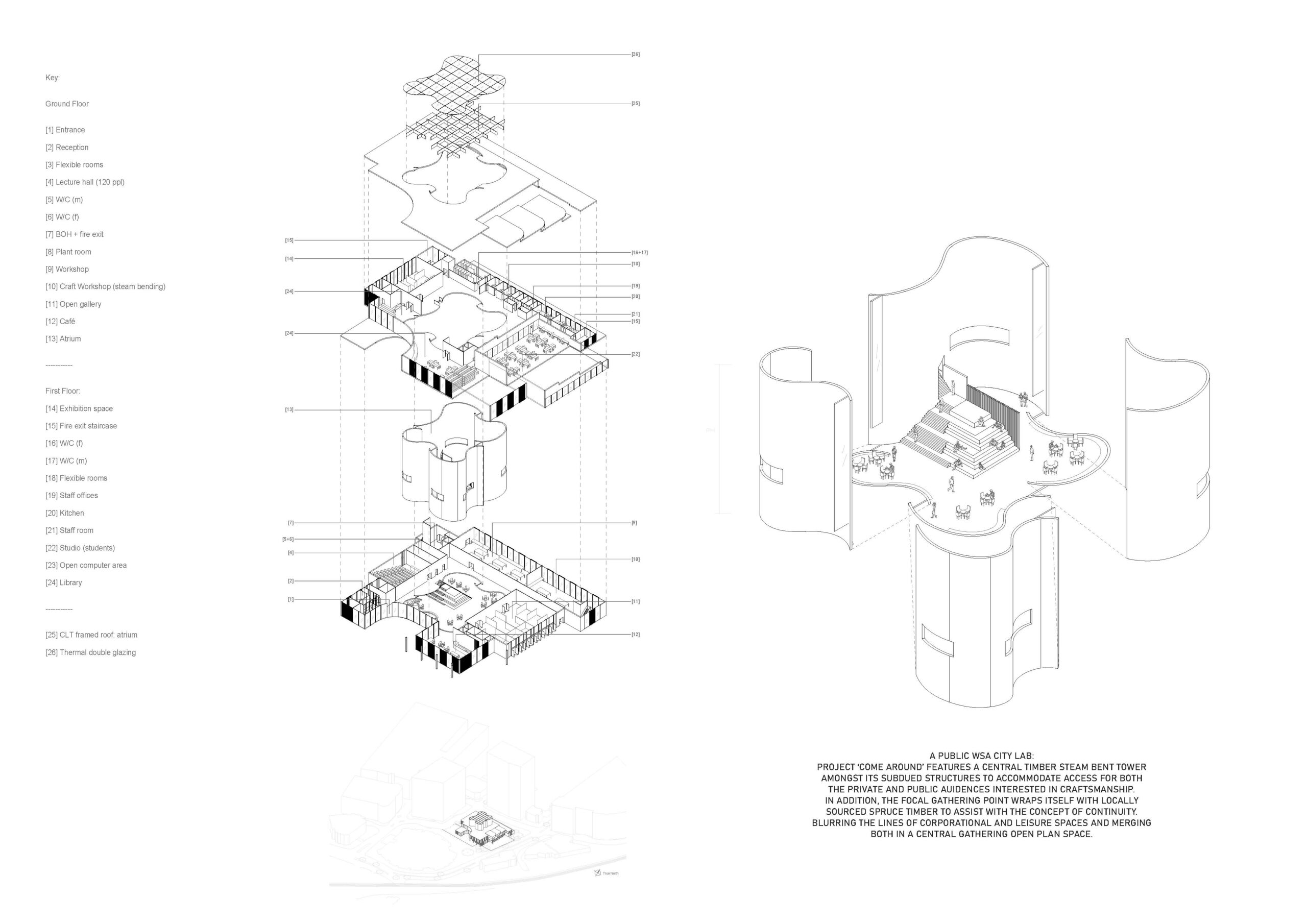 Exploded Axonometric showing building structure by Jemma Ho