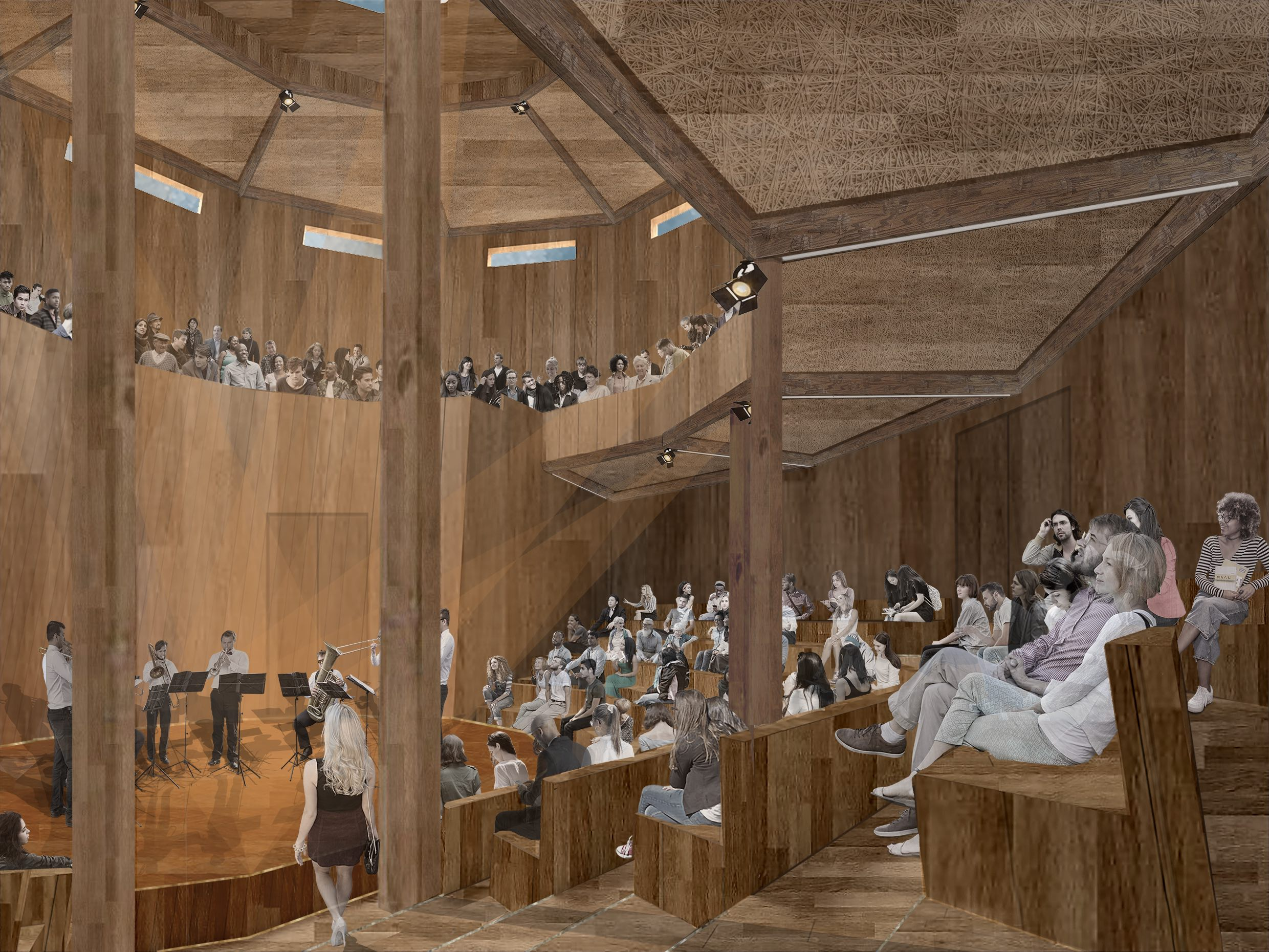 Collage image of the interior of a concert hall in use by Rachel Livesey