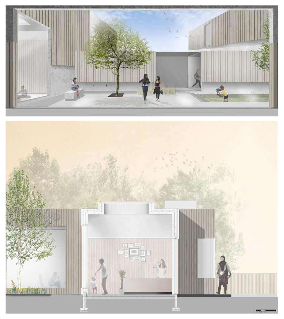 Court Yard Render x Technical Section
