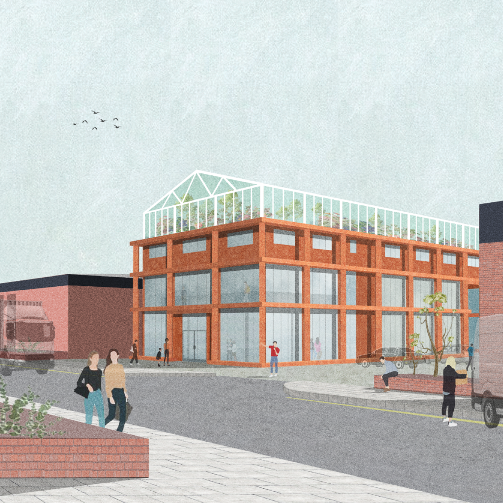 exterior render showing the rusty orange of the gin works structural cladding with the glass greenhouse on top