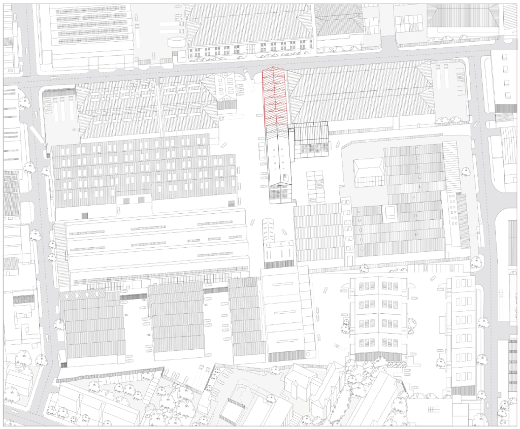 planimetric drawing showing a lot of industrial buildings which make up brantwood road