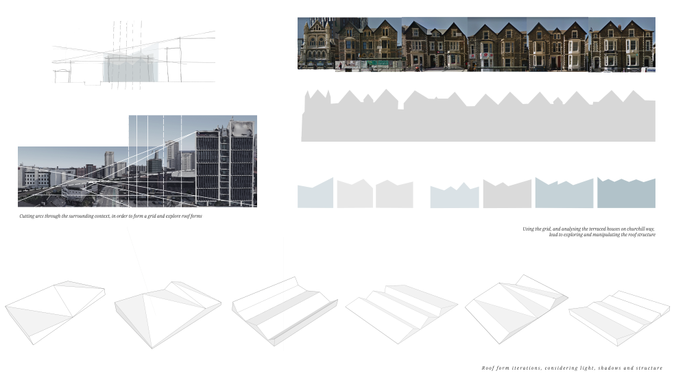 Roof progress page, analysis of the surrounding context to decide upon roof form and structure