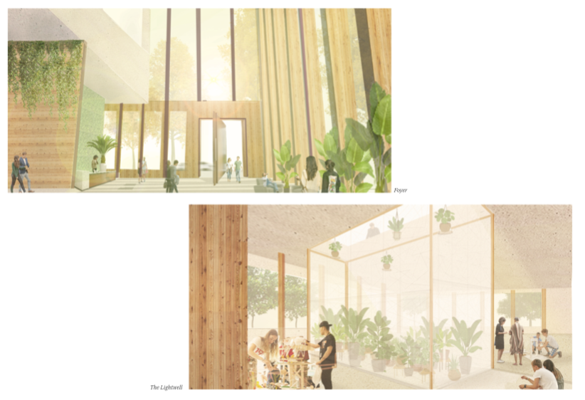 Interior views of the foyer and lightwells that are situated throughout the scheme.