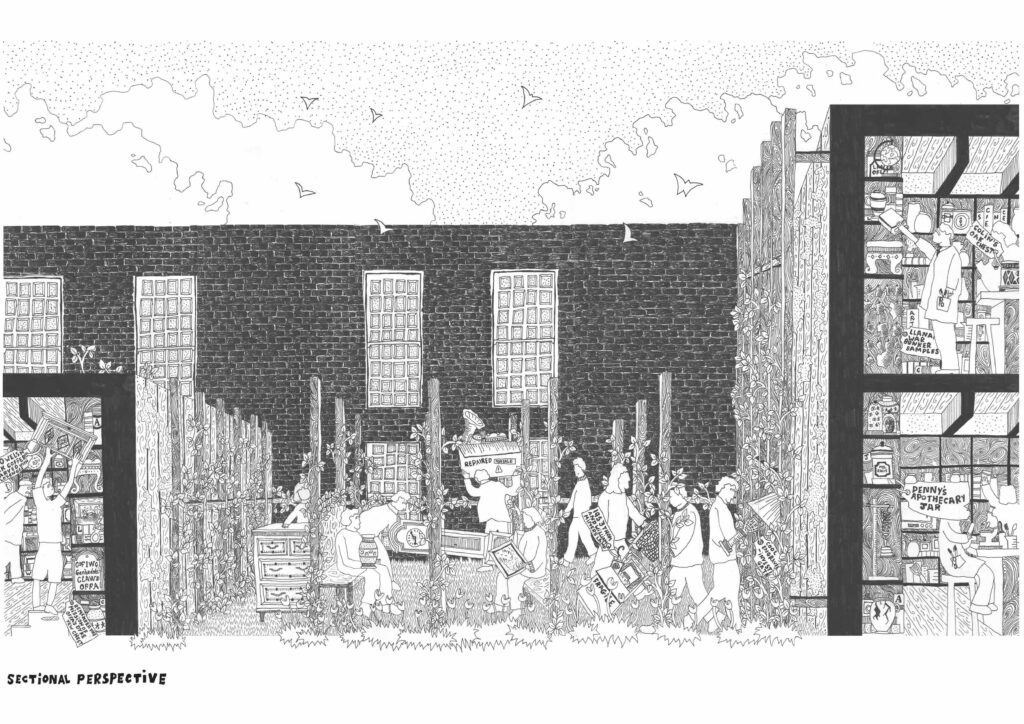 Sectional Perspective Drawing of the exterior corridor showcasing an objects journey between the Antiques Shop and Laboratory.