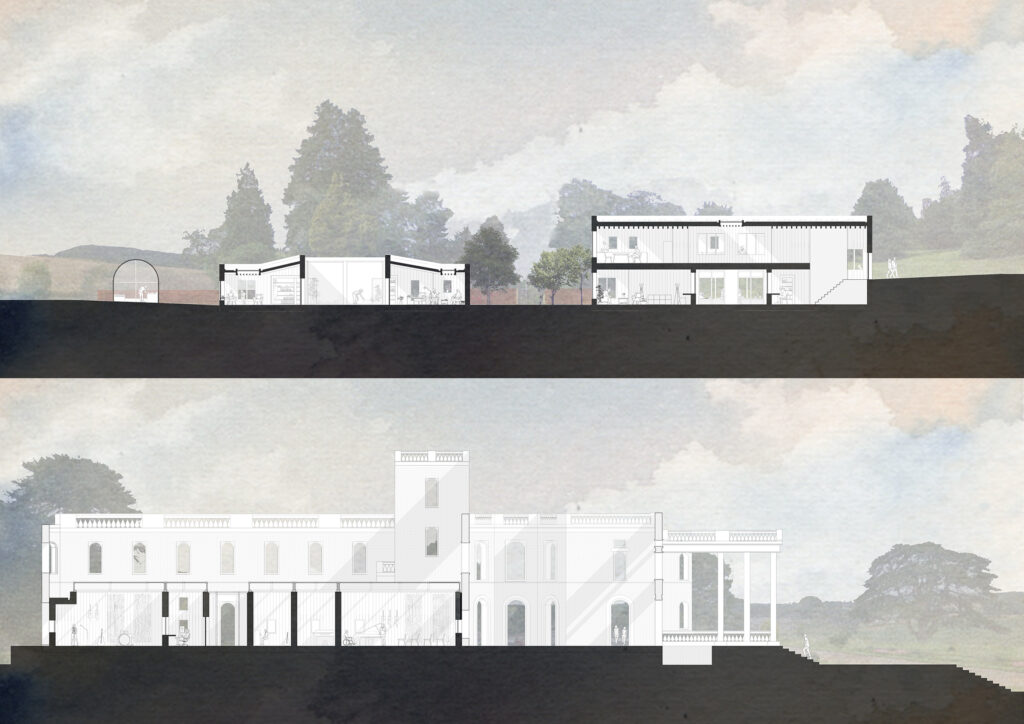 These sections through the site expressing the relationship between the form and volume of the proposed architecture against the existing romantic ruins and landscape.