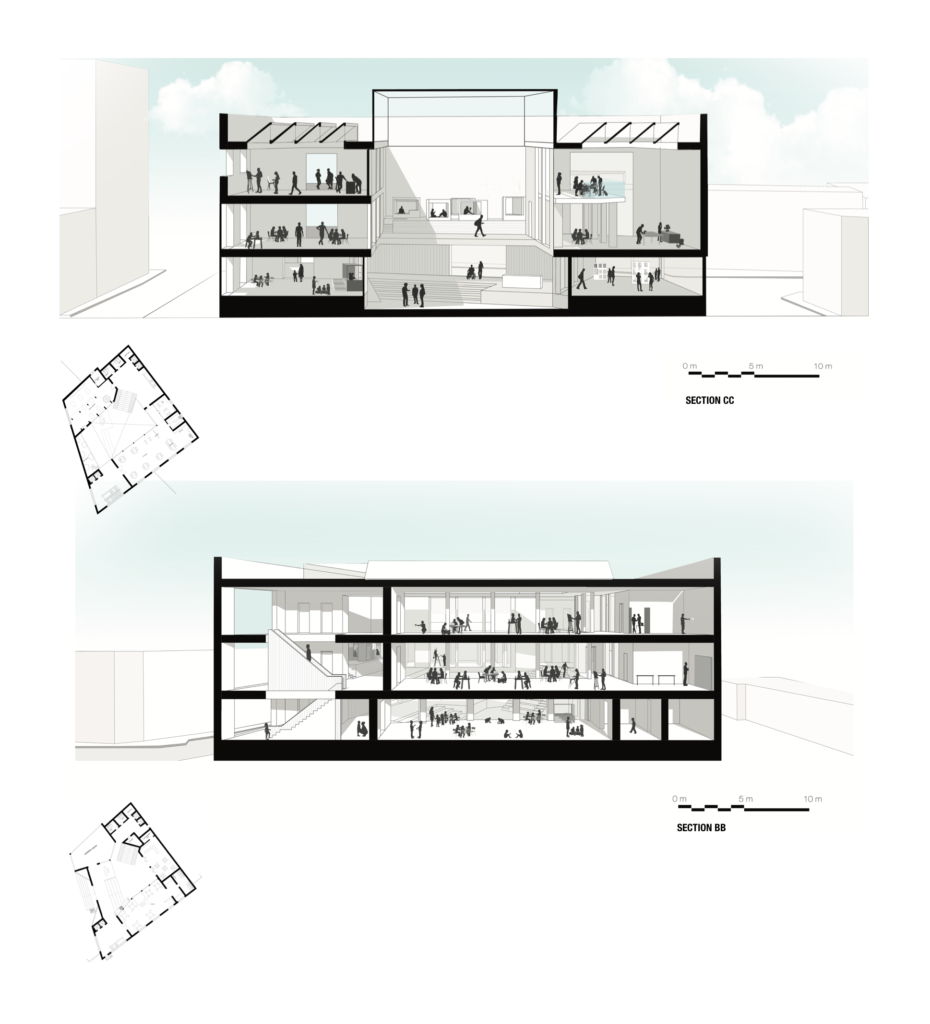 A making focused Youth Centre with studios split by age groups, with an adaptable exhibition space and double height workshop