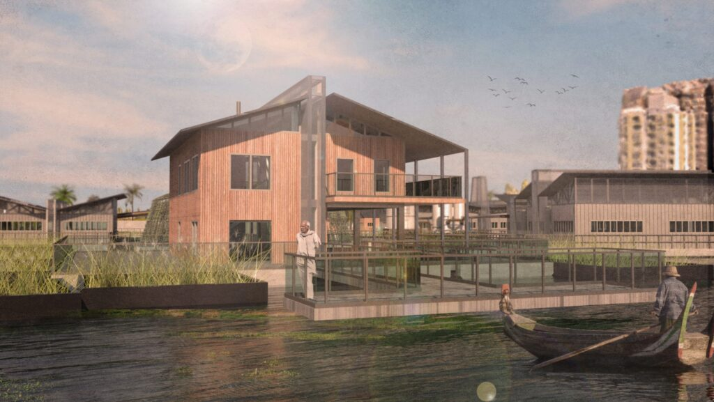 This image shows the floating restaurant within the water intervention. It shows how the water and structures interact and how it can be a useful space for the community as well as the workers on site