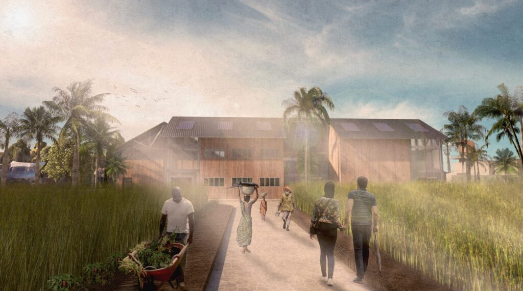 This visual shows the urban farm in the forefront and the community hub building in the background. People use the space for sustenance, well being and to deepen their connection the environment and water