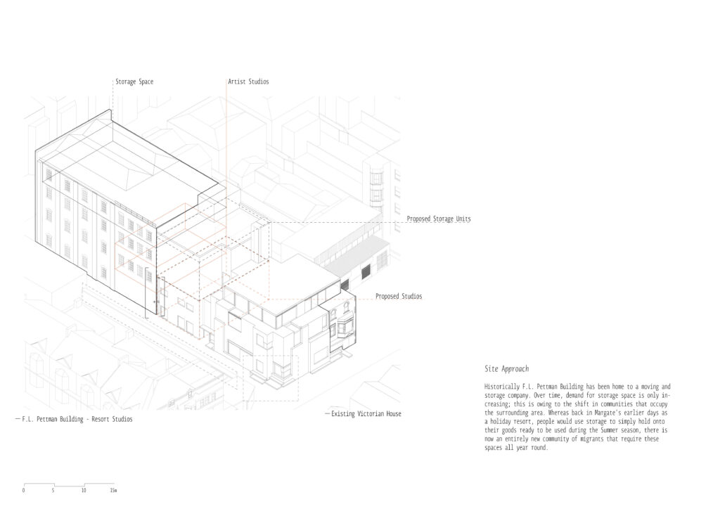 Axonometric drawing - site approach
