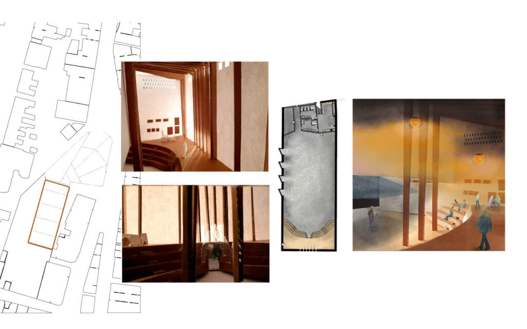 Model photos, floor plan and atmospheric illustration of an adaptable studio space
