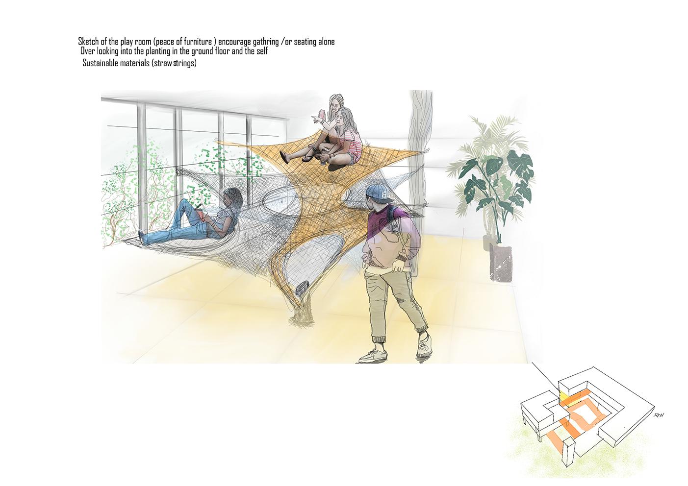 Concept sketch of playroom furniture