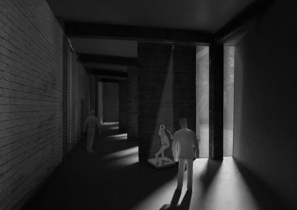 This 3D image forms a snapshot of a temporary exhibition within the building, showing lighting and shade within the space. This image has been produced by a physical model.