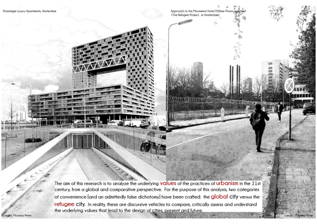 Two black and white images, one of a large multi-storey building and the other of a near empty urban street with accompanying text.