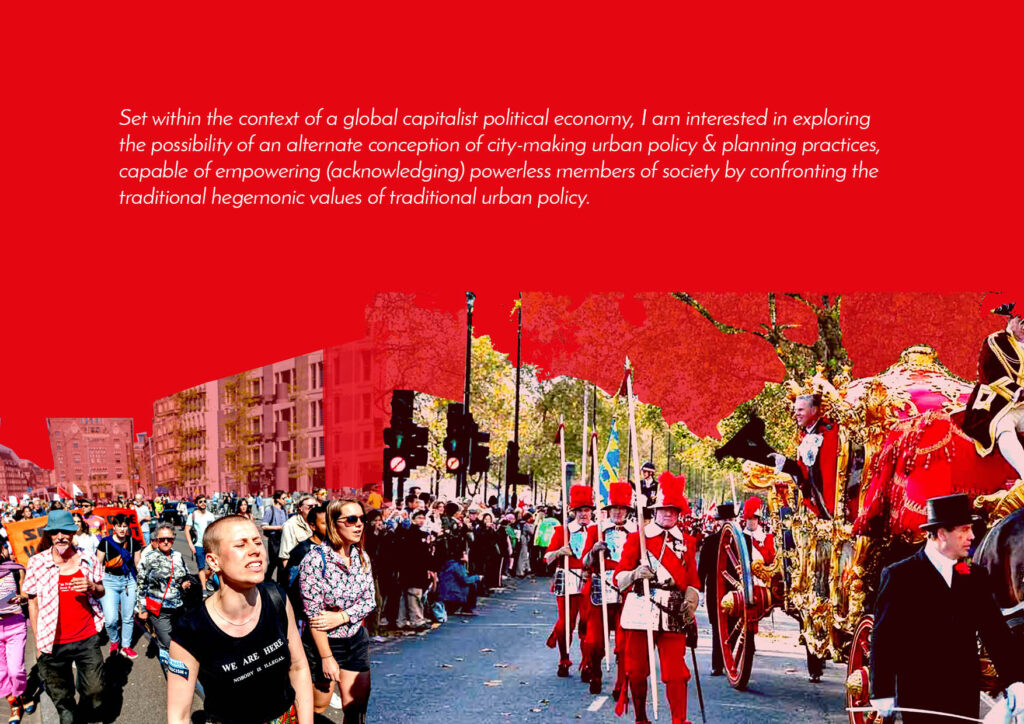 Collaged image of groups of people on streets on a red background.