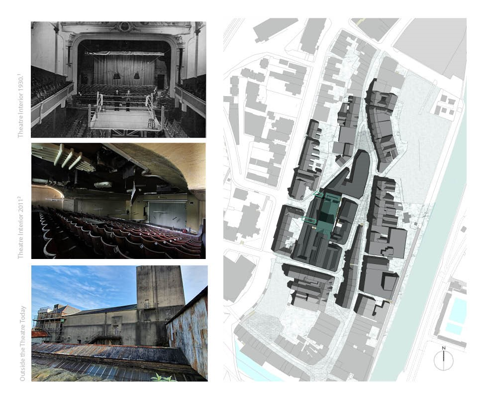 Photos of the run down existing town hall theatre along with a site plan of the area
