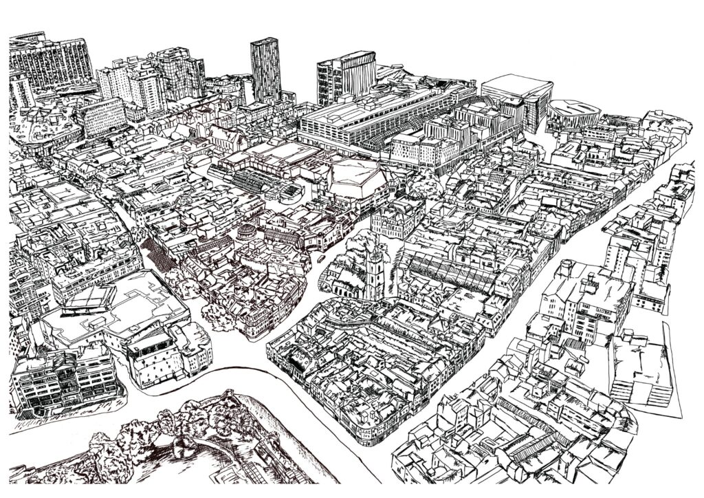 Birds eye view of Cardiff City Centre, hand drawn