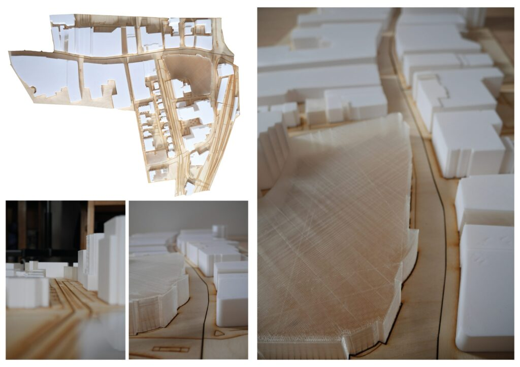 3D printed buildings laid out on laser cut timber site model. Site Model exploring the various massing of buildings.