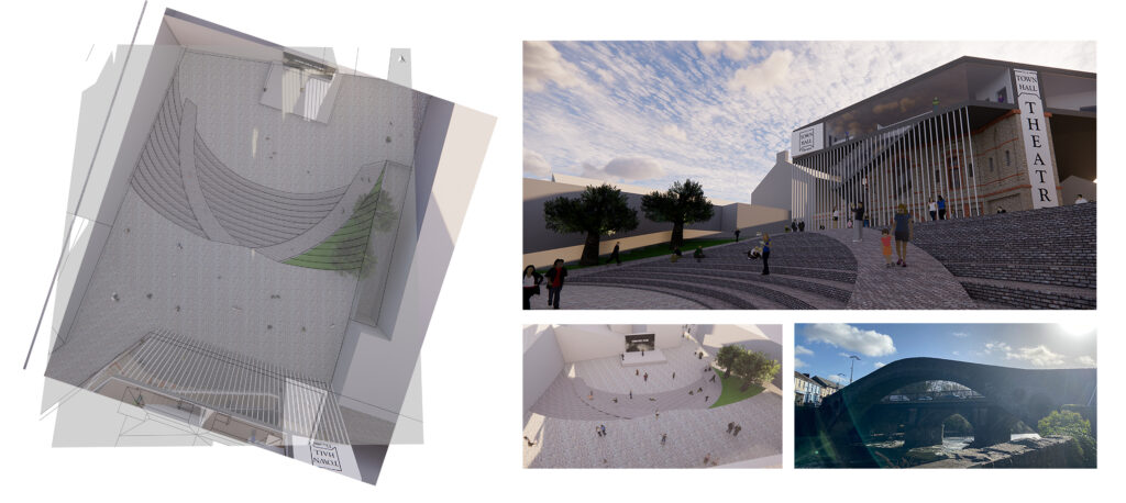 Images showing digital models and layout of the public square