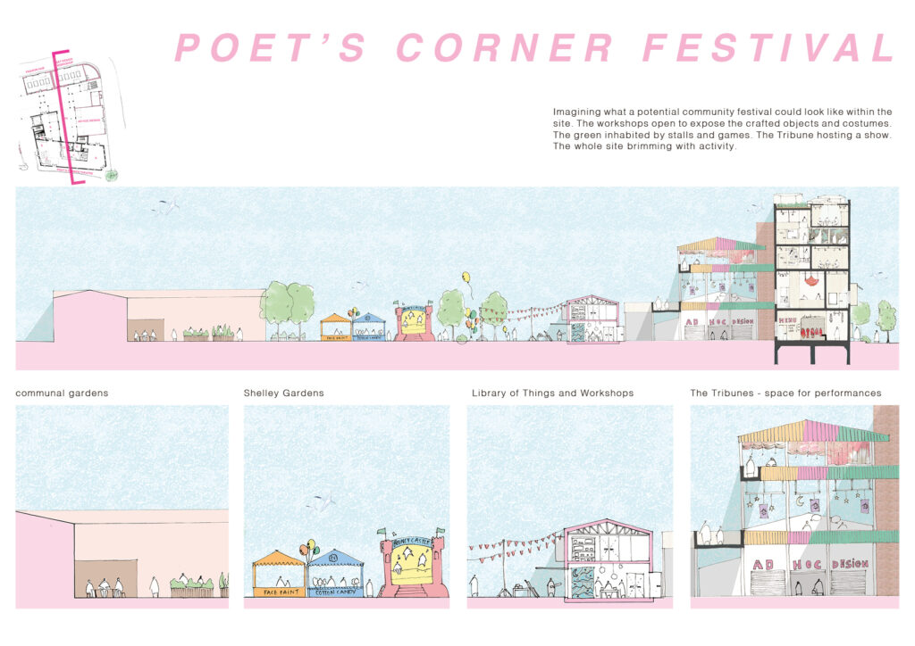 Section of the project illustrating a potential festival, with zoom-ins of the section to better show the activity between the space.