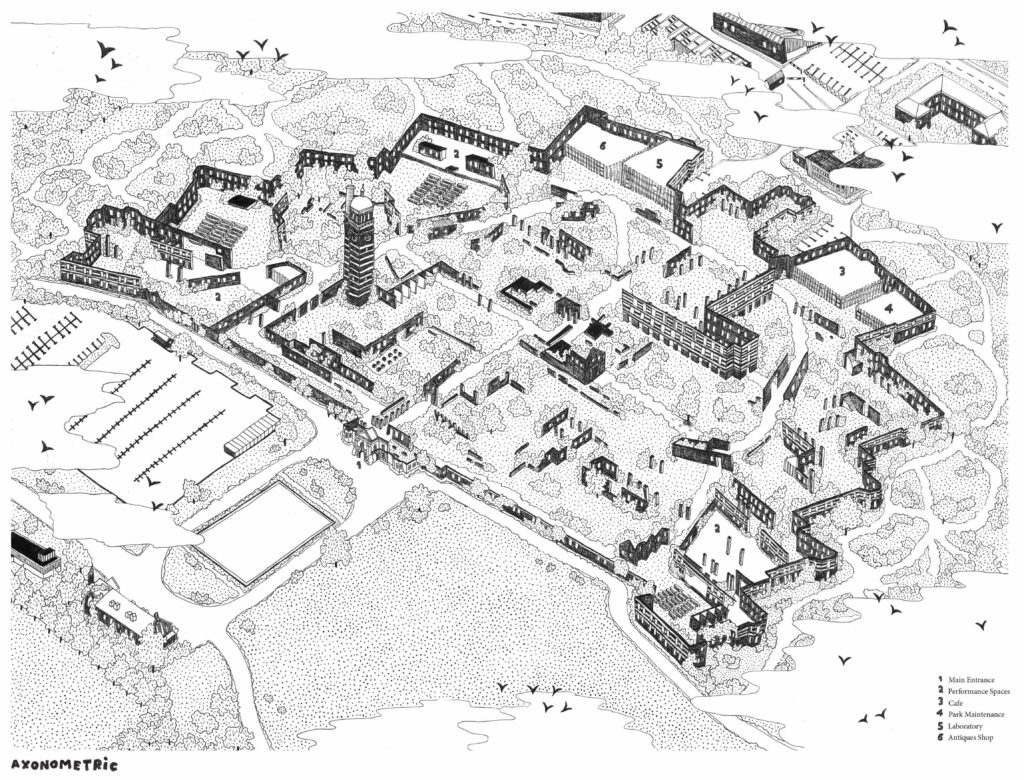 Axonometric Drawing of the new proposal for Whitchurch Hospital, showing the new interventions sitting in the curated ruin landscape, emerging from existing boundary walls and growing from the decay.