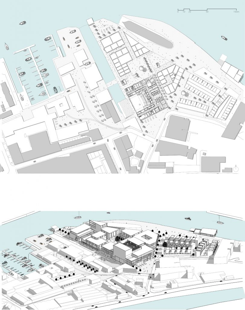 The images show the masterplan both in plan and aerial view. This space has the feeling that it has evolved over time, with these images highlighting the complexity of the city fabric.