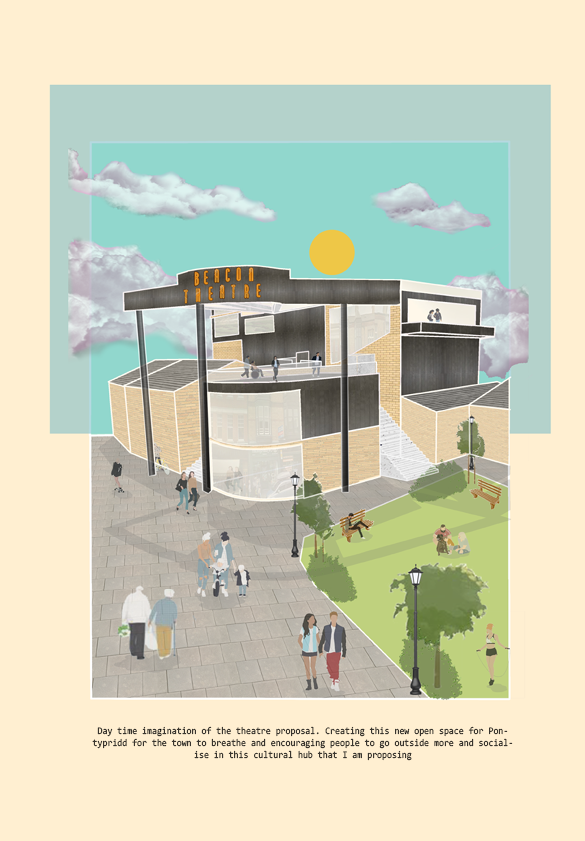Illustration of the exterior of the theatre showing it in use by Cecelia Huang