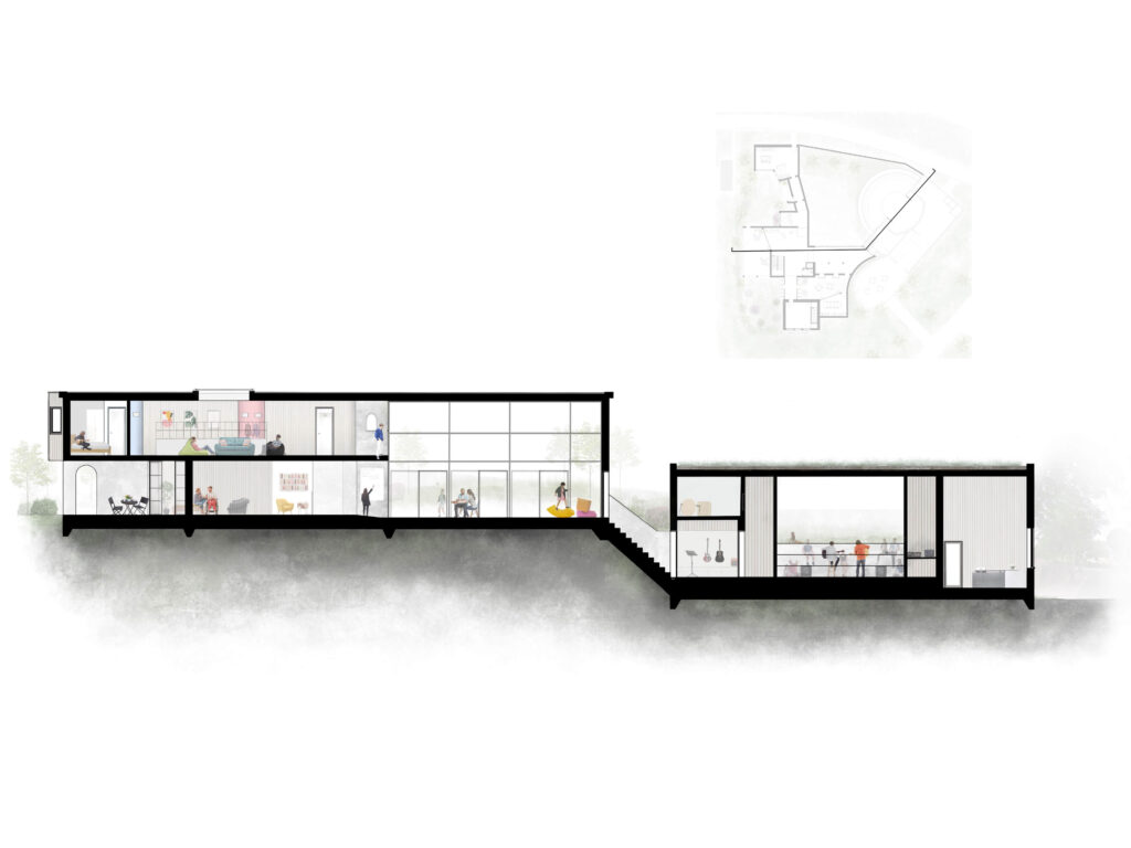 A section through the building with a site map on the top right corner.