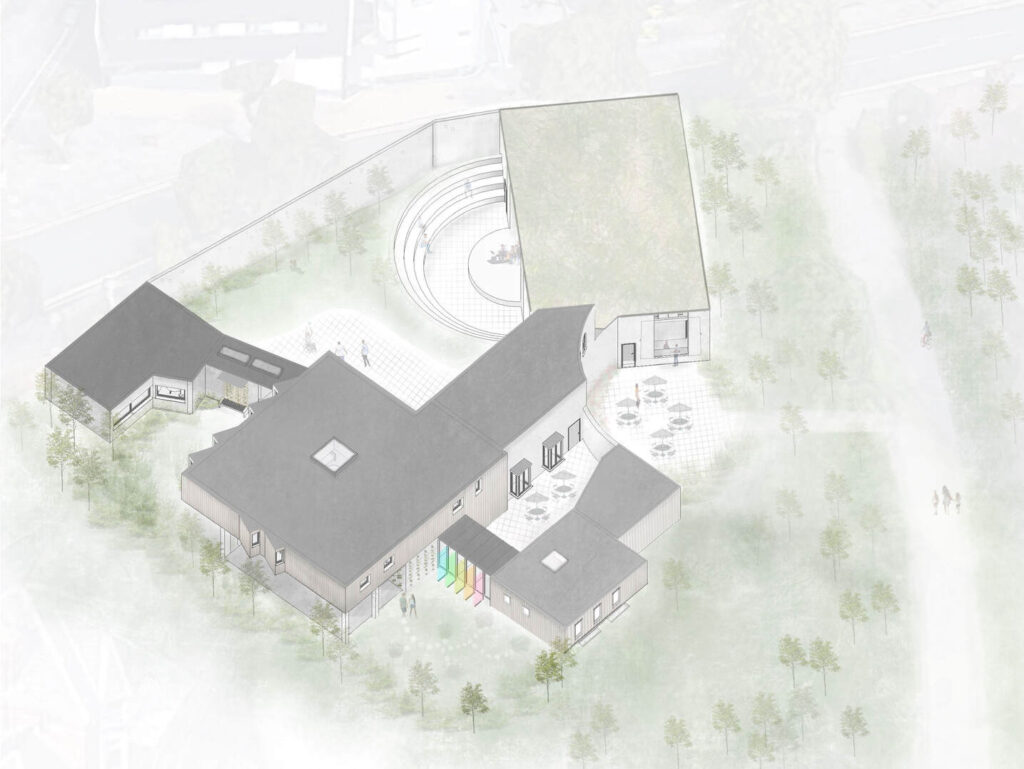 An overhead view of the building in its context.