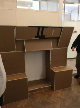 We assembled the blocks in two separate sections - this is the lower section. This meant it could fit through doorways and was more easily transported