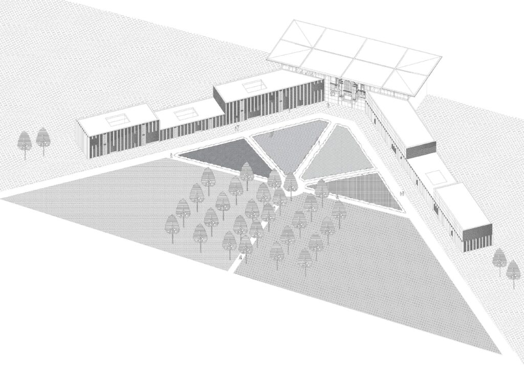 A Whole scheme isometric showing interaction of the gardens with the building and emphasising the central axis through the tree-lined walkways.
