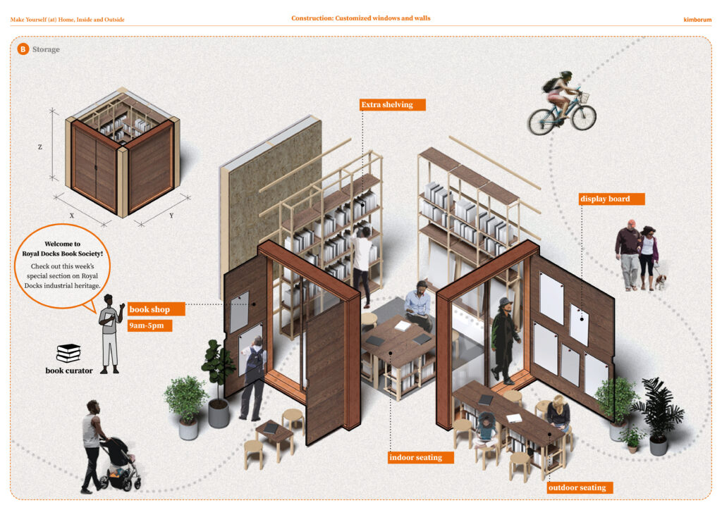 An axonometric focusing on storage within the bookshop, looking at seating, book storage and displays.
