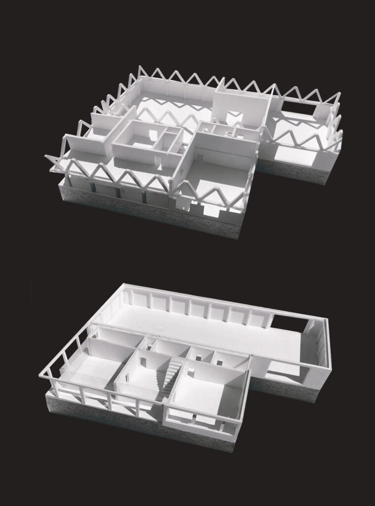 models showing the interior of the mill. The first provides a diagonal structural expression and the second shows a more linear expression