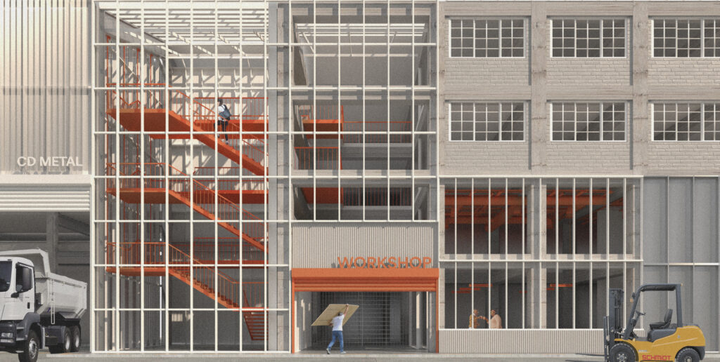 render showing the material expression and entrance. The entrance is framed in orange which is also seen in the staircase. The staircase is visible due to its glass exterior.