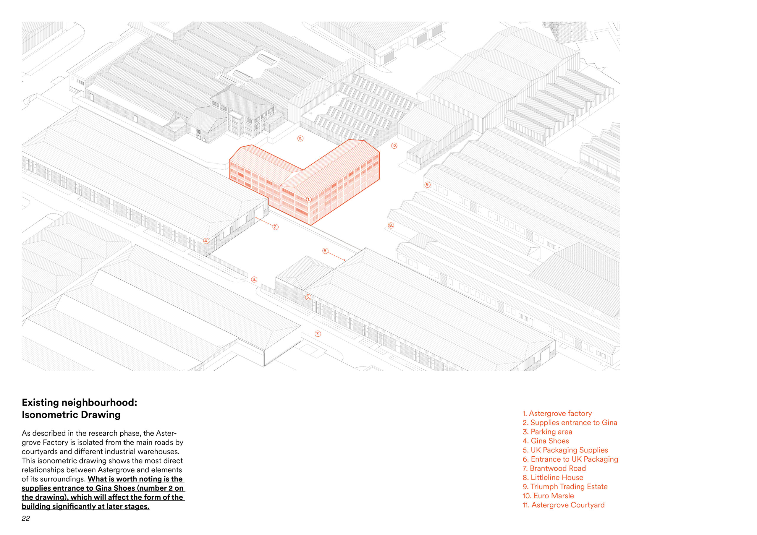 isometric drawing with the original building drawn in orange. the rest of the drawing is cad black and white