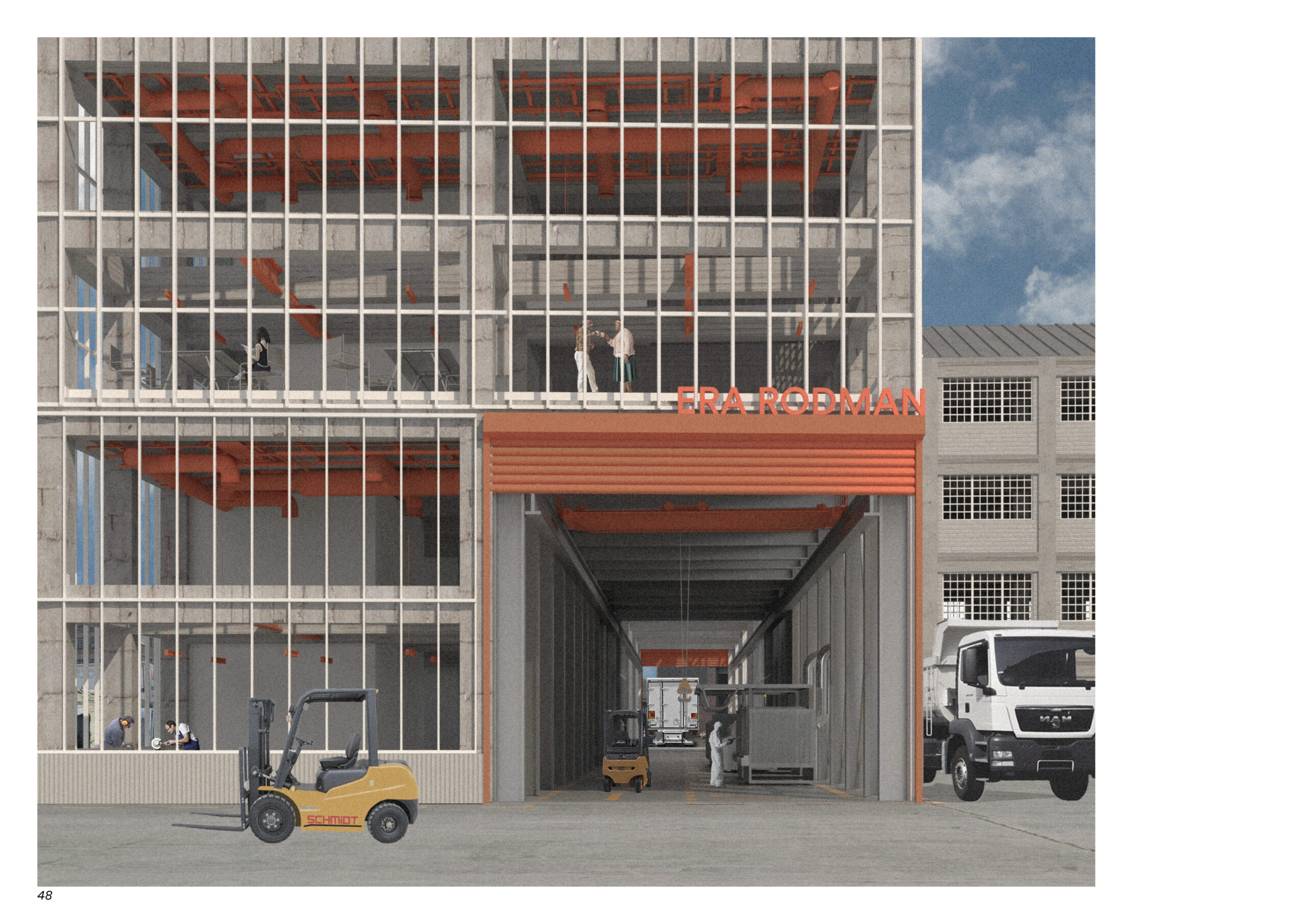 a render of the entrance of the metal works which is orange. behind is made of glass so we can see into the space