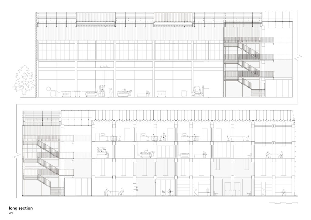 Elevational study with stairs to the right. Sectional study with stairs to the left  and activity on all 4 floors