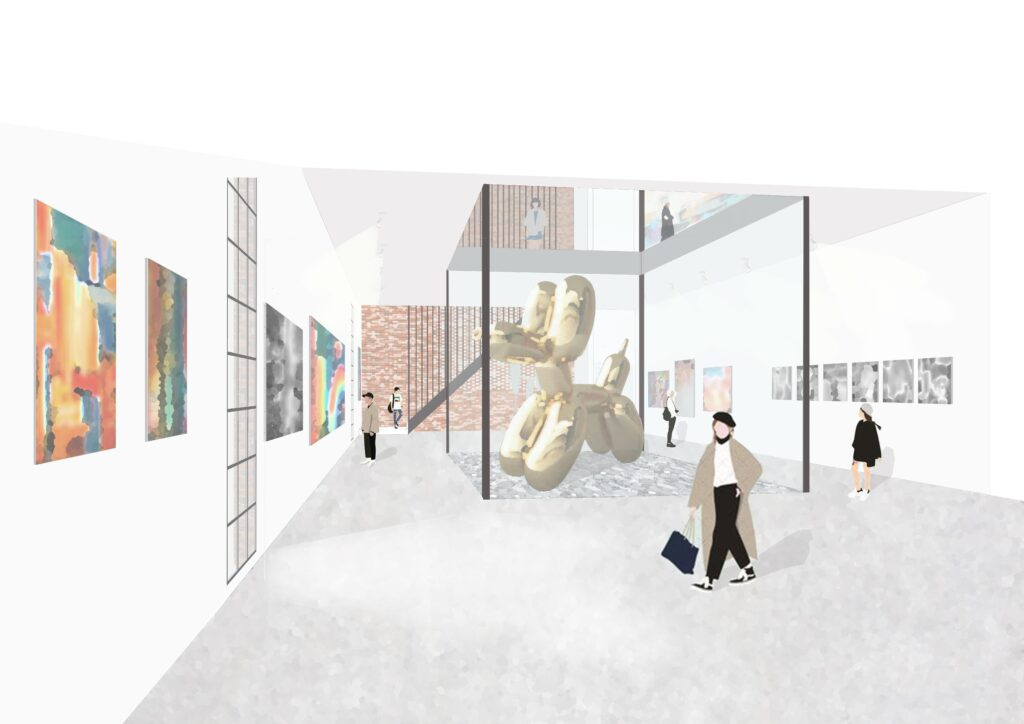 A Perspective of art gallery showing central courtyard space exhibiting artwork, allowing views from above and allowing indirect light into the gallery from the centre of the room.