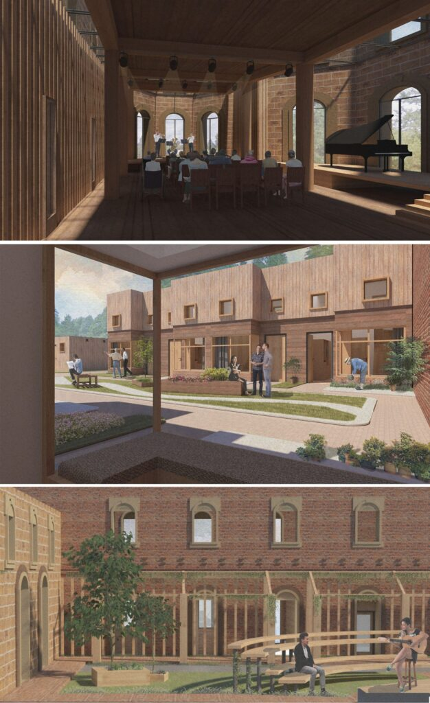 These 3D views highlight the atmosphere and type of architecture desired. 3 images depict the performance space, a landscaped courtyard and the music therapy garden.