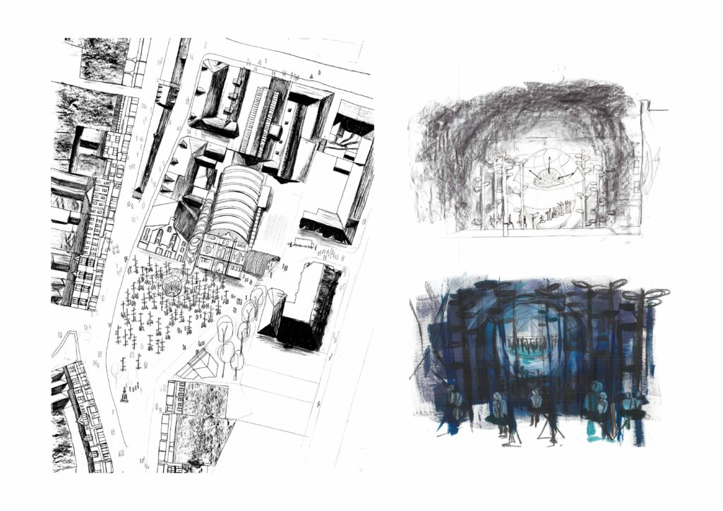 Images exploring the theatricality of public spaces through sketches