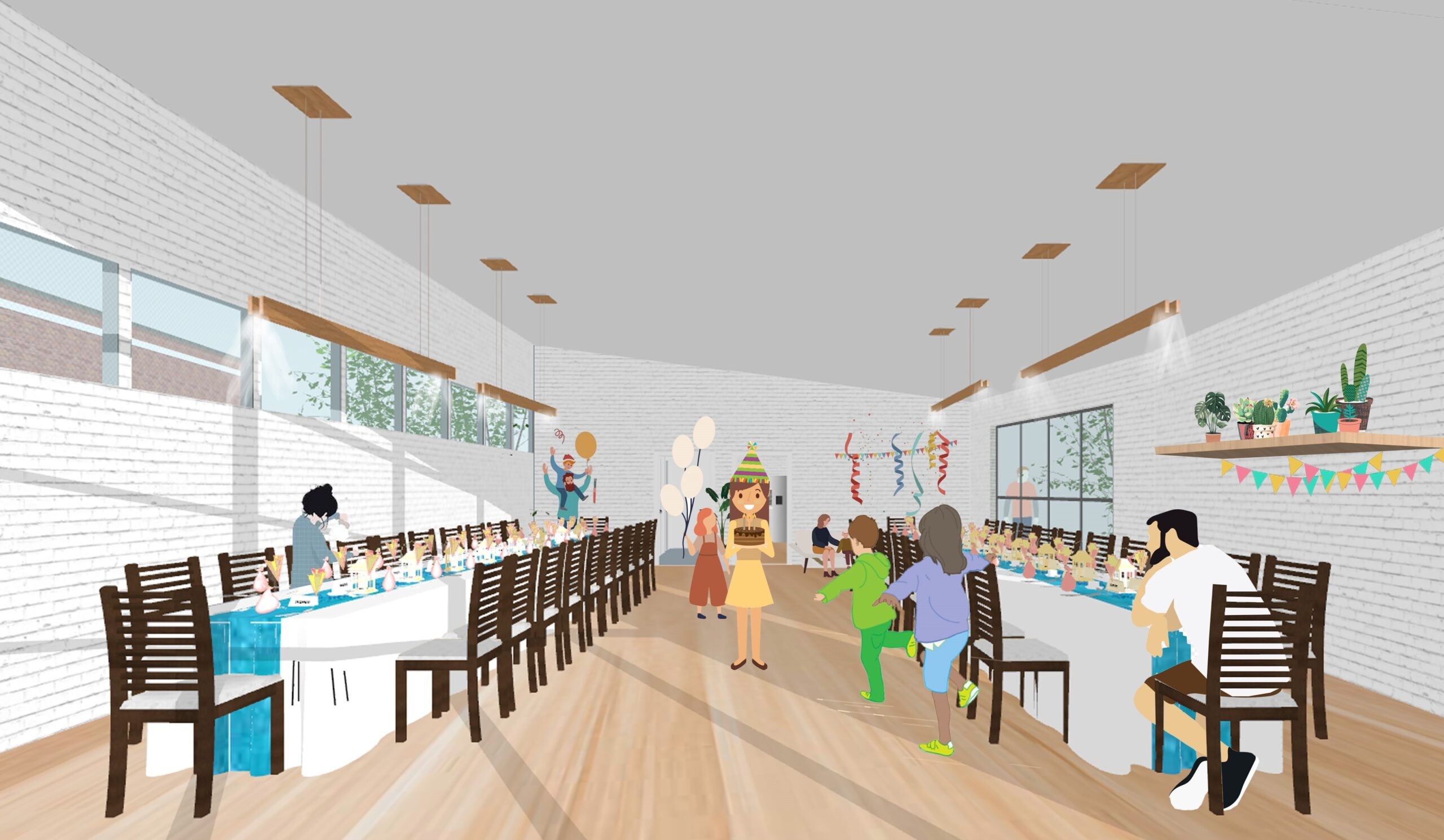 Person depicated in the centre of the image, tables to either side of her illustrating the setting of the cafe