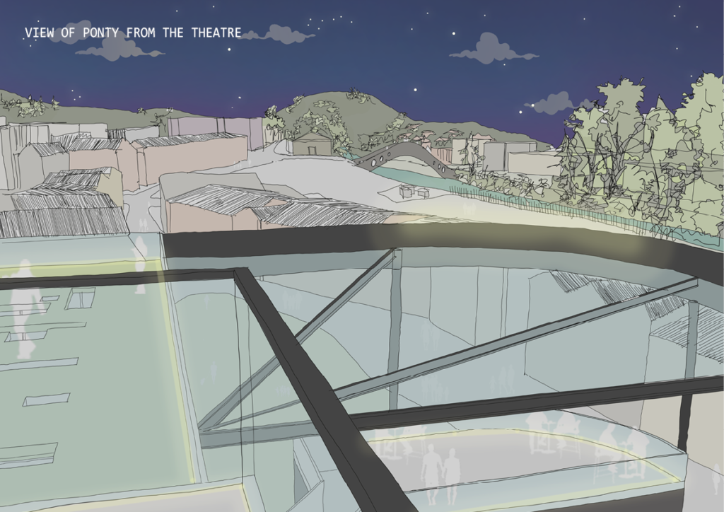 Illustration of a view from the theatre across the town at night by Cecelia Huang