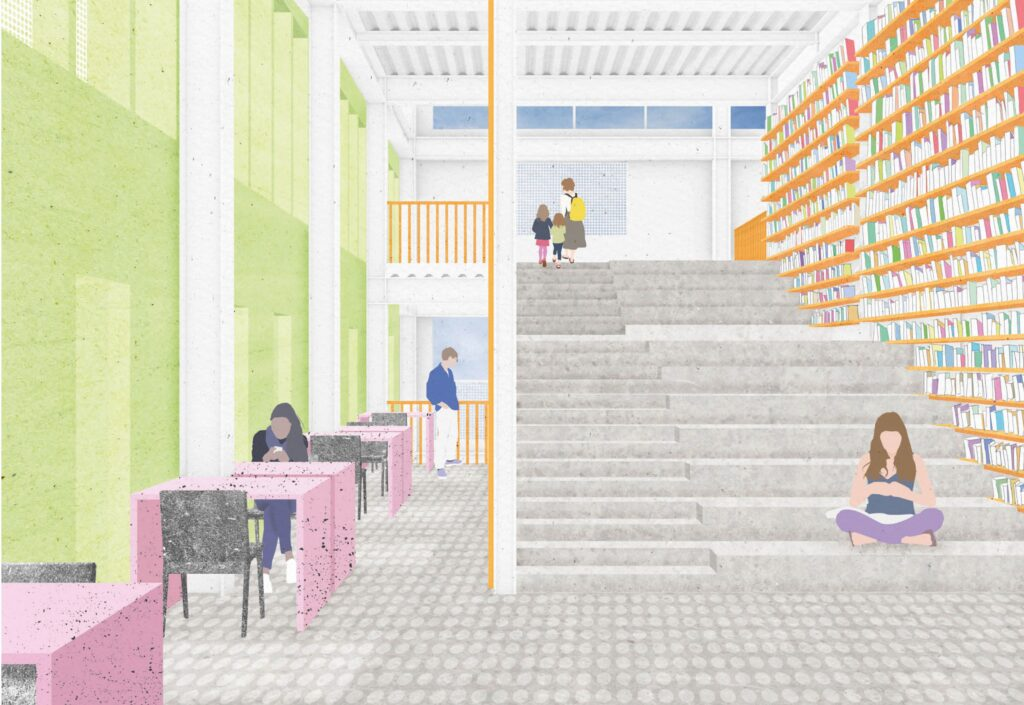 a render of the library inside the printworks. the structure is white and furniture and shelving is accented with colour. the stairs are central in the image and are wide wnough to sit on to the right but are normal stepd to the left. There is a space to write by the windows on the left of the image