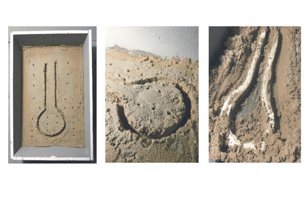 Three pictures of plaster poured in sand showing the process of tracing and digging the columns.