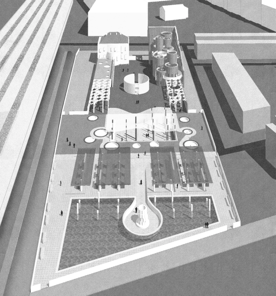 Black and white axonometric of masterplan