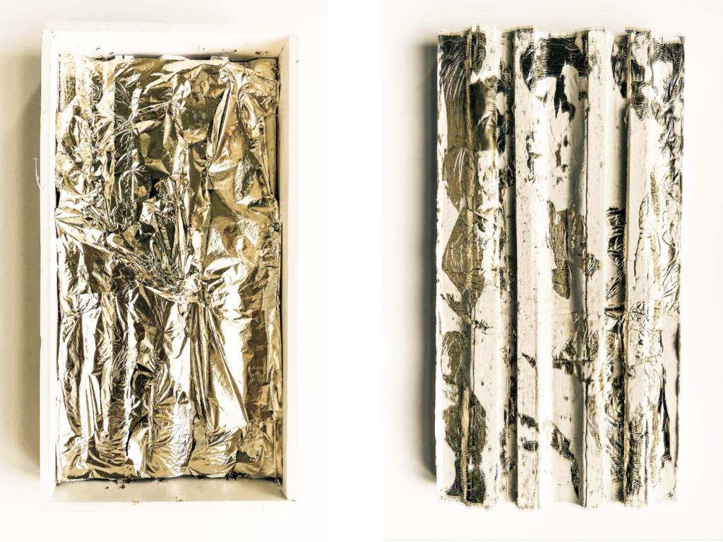 Two plaster and gold leaf material studies