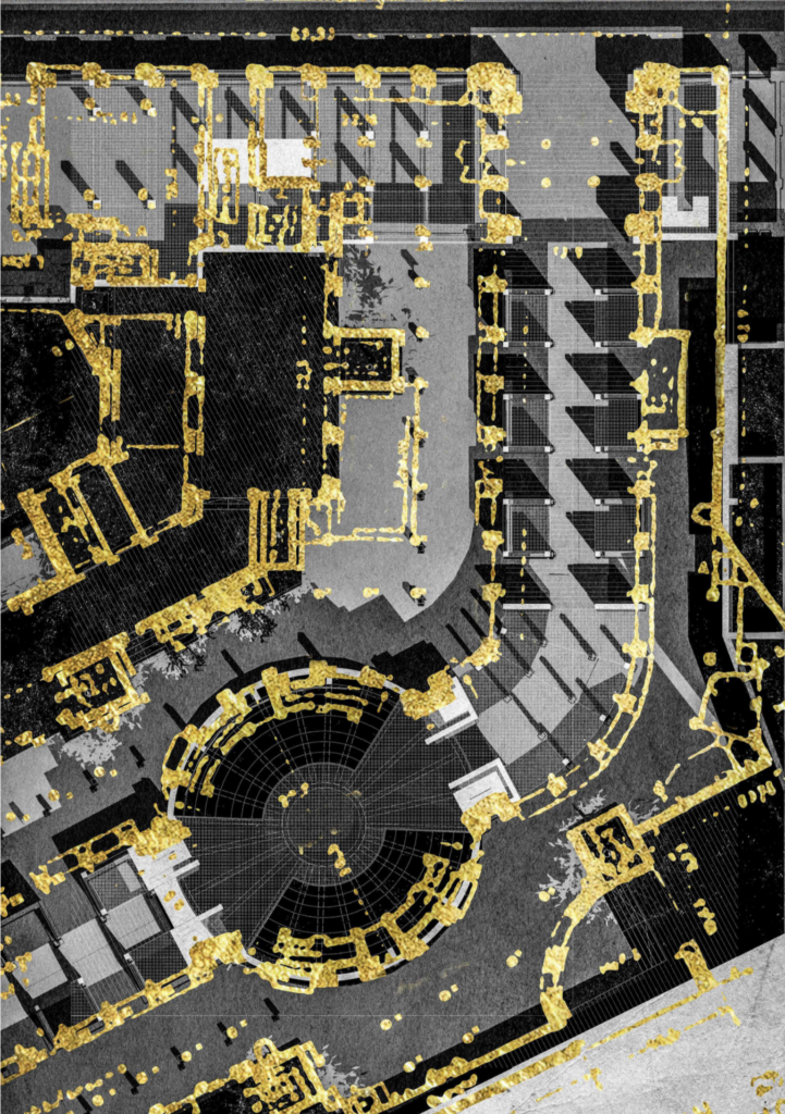Sculpture park plan shown in gold over black and white drawing