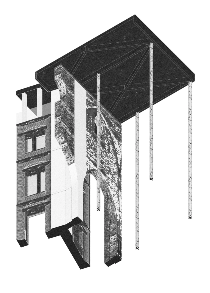 Axonometric drawing of corner intersection in black and white