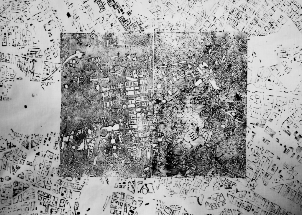 acrylic on textile, black and white painting showing the map of Berlin as a piece of text written in different languages