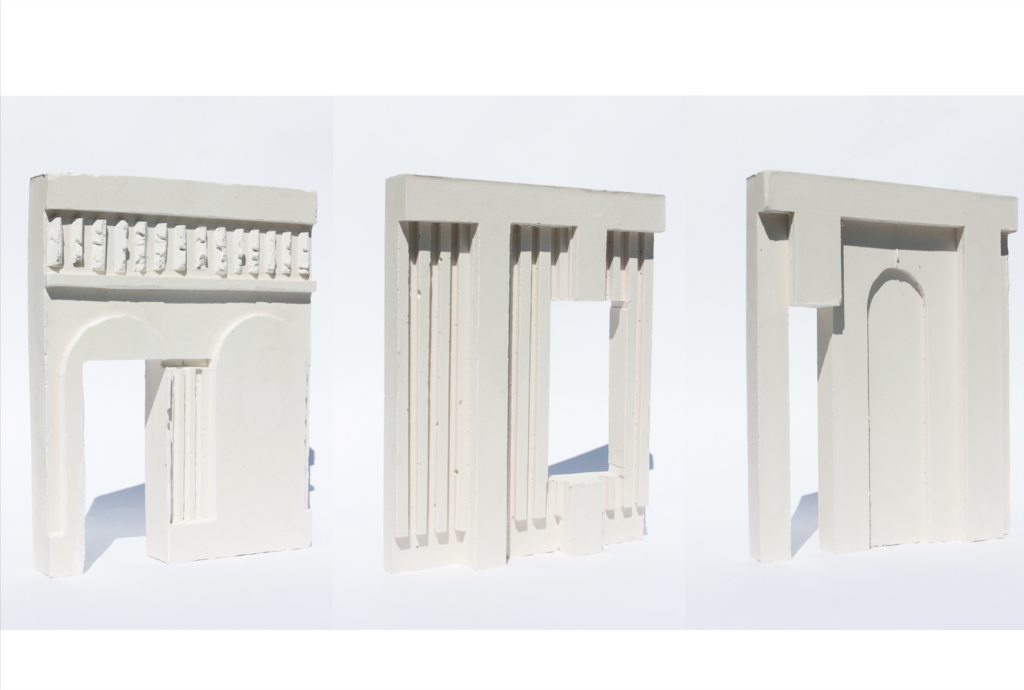 Three Plaster models of studies of Facades